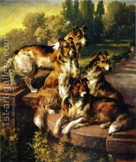 Collie Dogs in Formal Garden by Edmund Henry Osthaus - Reproduction Oil Painting