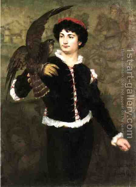 The Falconer by James Carroll Beckwith - Reproduction Oil Painting
