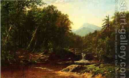 Fisherman by a Mountain Stream by Alfred Thompson Bricher - Reproduction Oil Painting