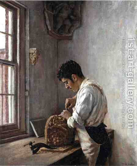 The Wood Carver by Edgar Melville Ward - Reproduction Oil Painting
