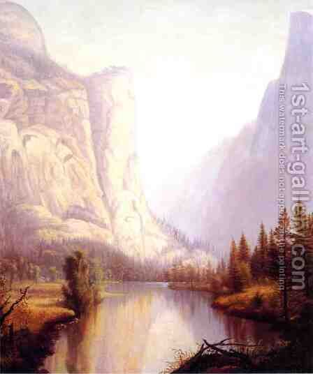 View of Yosemite by James Hope - Reproduction Oil Painting