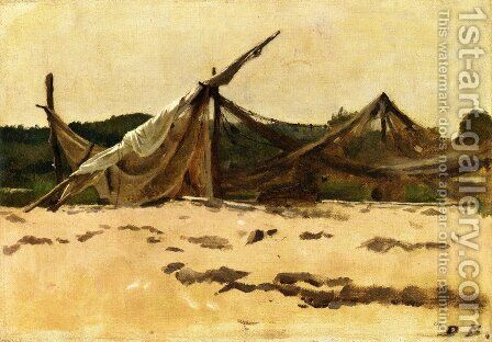 Nets and Sails Drying by Dennis Miller Bunker - Reproduction Oil Painting