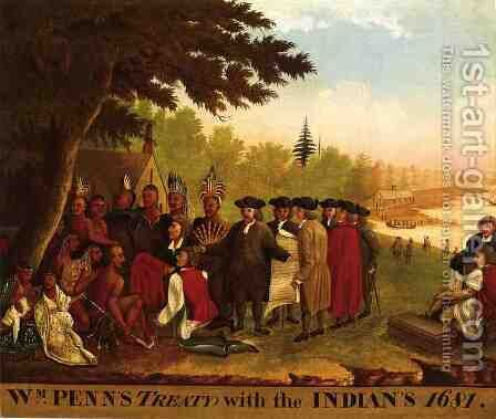 Penn's Treaty by Edward Hicks - Reproduction Oil Painting