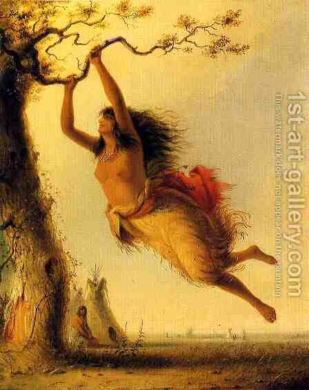 Indian Girl Swinging by Alfred Jacob Miller - Reproduction Oil Painting
