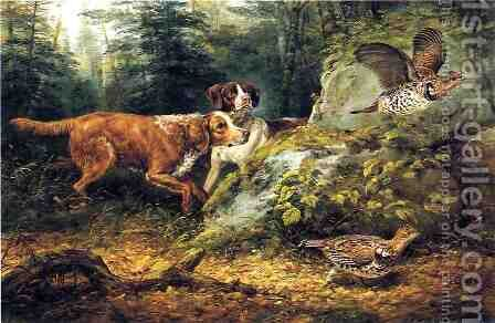 Flushed: Ruffed Grouse Shooting by Arthur Fitzwilliam Tait - Reproduction Oil Painting