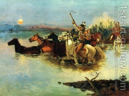 Crossing the Range by Charles Marion Russell - Reproduction Oil Painting