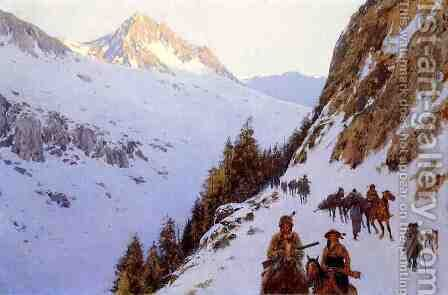 The Trail Over the Pass by Henry Farny - Reproduction Oil Painting