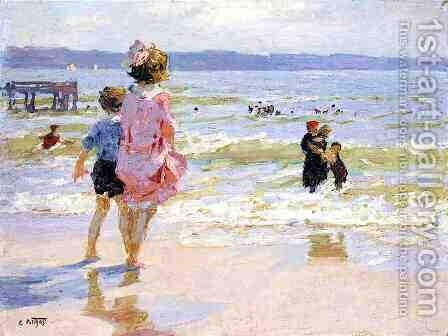 At the Seashore 2 by Edward Henry Potthast - Reproduction Oil Painting