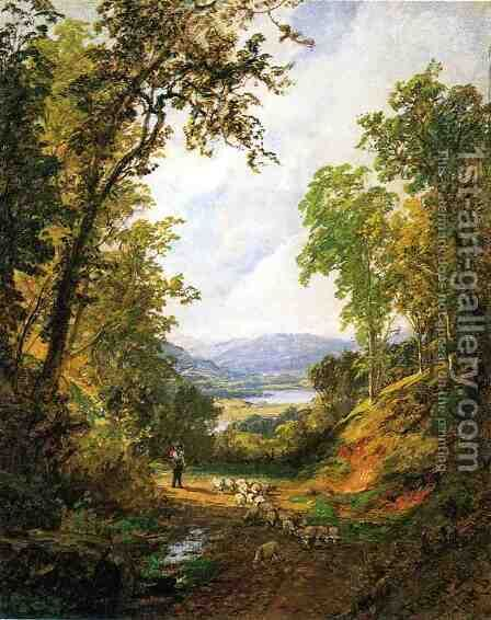 Shepherd and Flock by Jasper Francis Cropsey - Reproduction Oil Painting