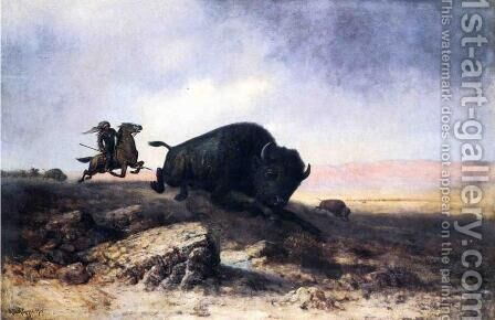 Buffalo Hunt by Astley David Middleton Cooper - Reproduction Oil Painting