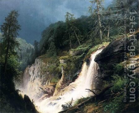 Western Waterfall by Herman Herzog - Reproduction Oil Painting