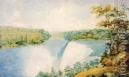 Niagara Falls from Goat Island Looking toward Prospect Point by Charles Fraser - Reproduction Oil Painting