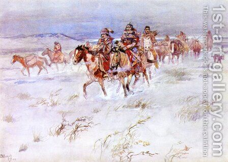 Crees Coming in to Trade by Charles Marion Russell - Reproduction Oil Painting
