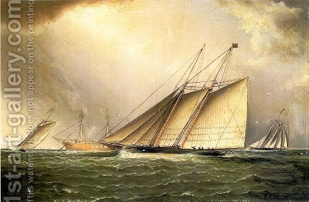 Yachts Rounding the Nore Light Ship in the English Channel by James E. Buttersworth - Reproduction Oil Painting