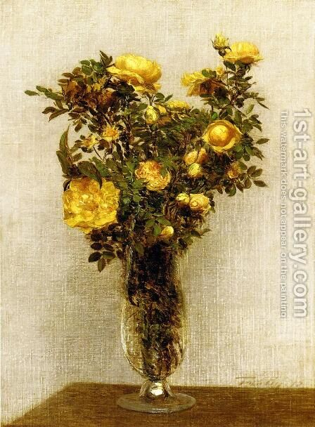 Roses Lying on Gold Velvet by Ignace Henri Jean Fantin-Latour - Reproduction Oil Painting