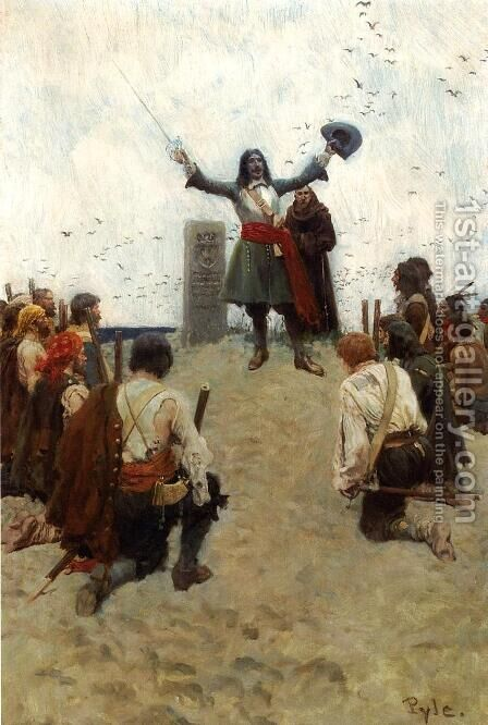 "La Salle Christening the Country ""Louisiana"" by Howard Pyle - Reproduction Oil Painting"