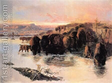 The Buffalo Herd by Charles Marion Russell - Reproduction Oil Painting