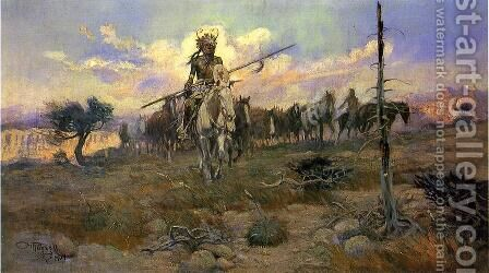 Bringing Home the Spoils by Charles Marion Russell - Reproduction Oil Painting