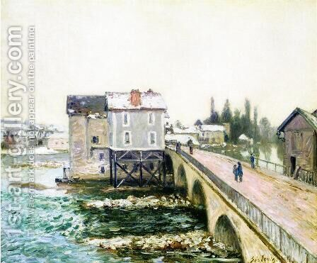 The Bridge and Mills of Moret, Winter's Effect by Alfred Sisley - Reproduction Oil Painting