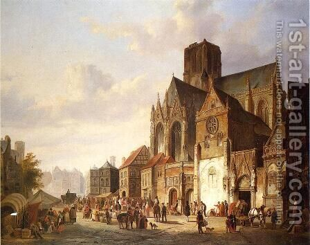 View of Montelspran by Cornelis Springer - Reproduction Oil Painting