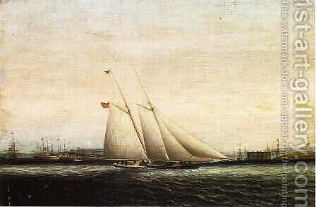 Two Masted Schooner by James E. Buttersworth - Reproduction Oil Painting