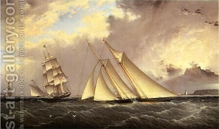 The Dauntless off Sandy Hook by James E. Buttersworth - Reproduction Oil Painting
