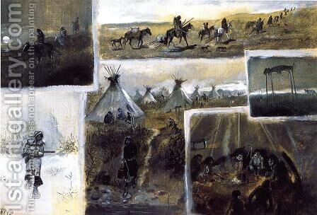 Western Montage by Charles Marion Russell - Reproduction Oil Painting