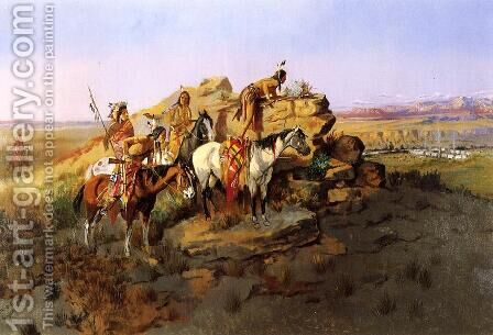 Watching the Settlers by Charles Marion Russell - Reproduction Oil Painting