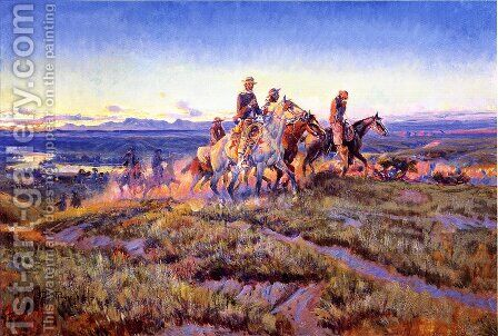 Men of the Open Range by Charles Marion Russell - Reproduction Oil Painting