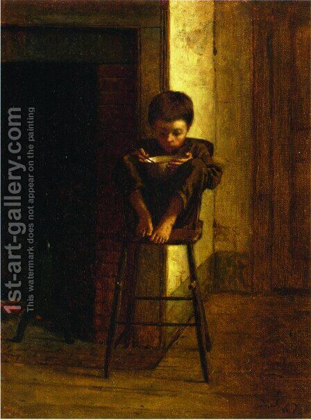 Little Boy on a Stool by Eastman Johnson - Reproduction Oil Painting
