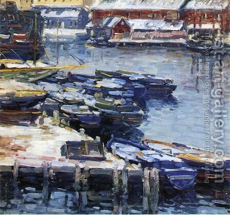 Docks in Winter by Charles Salis Kaelin - Reproduction Oil Painting