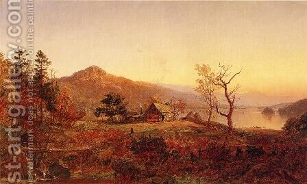 Fisherman's Hut, Greenwood Lake by Jasper Francis Cropsey - Reproduction Oil Painting