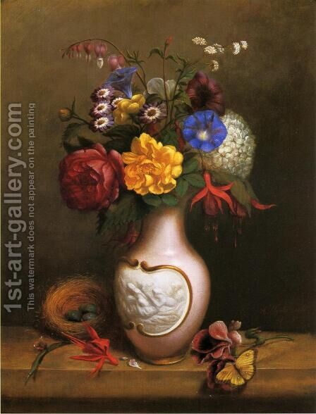 Floral Arrangement with Birds Nest by Arnoud Wydeveld - Reproduction Oil Painting