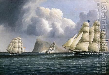 American Frigate off Gibralter Flying a Commodore's Pennant by James E. Buttersworth - Reproduction Oil Painting