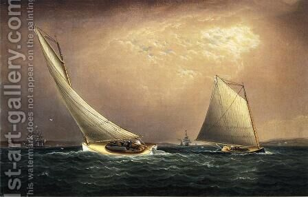 New York Bay by James E. Buttersworth - Reproduction Oil Painting