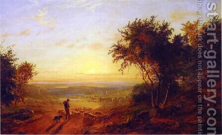 The Return Home: Landscape with Shepherd and Sheep by Jasper Francis Cropsey - Reproduction Oil Painting