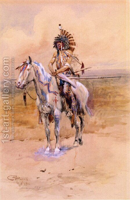 Mandan Warrior by Charles Marion Russell - Reproduction Oil Painting