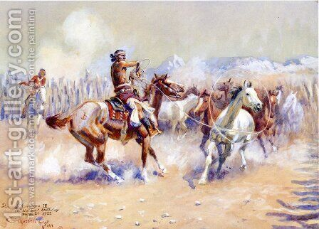 Navajo Wild Horse Hunters by Charles Marion Russell - Reproduction Oil Painting