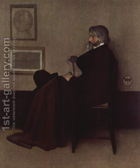 Arrangement in Grey and Black, No.2: Portrait of Thomas Carlyle by James Abbott McNeill Whistler - Reproduction Oil Painting