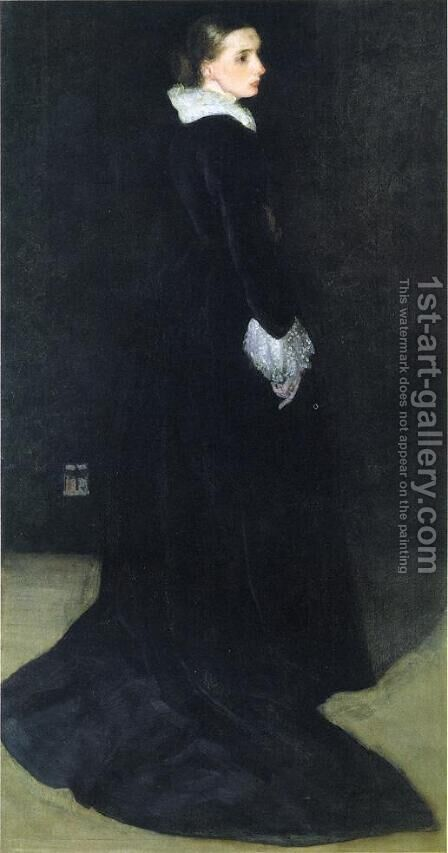 Arrangement in Black, No. 2: Portrait of Mrs. Louis Huth by James Abbott McNeill Whistler - Reproduction Oil Painting