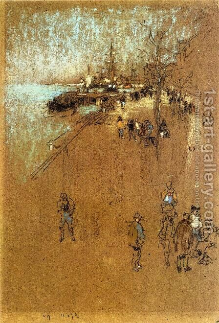 The Zattere; Harmony in Blue and Brown by James Abbott McNeill Whistler - Reproduction Oil Painting