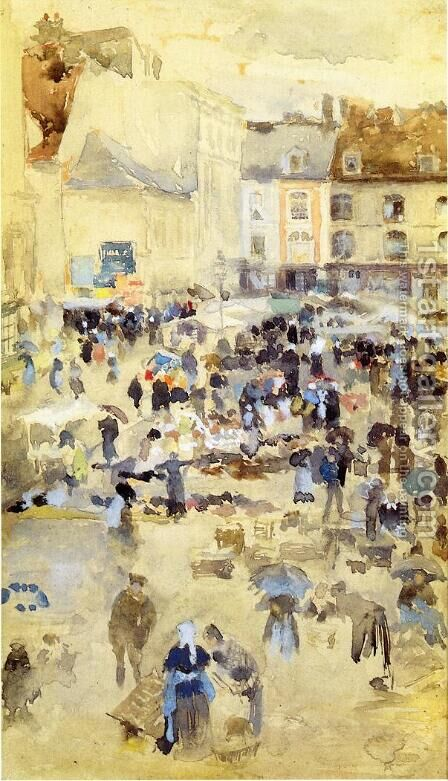 Variations in Violet and Grey - Market Place, Dieppe by James Abbott McNeill Whistler - Reproduction Oil Painting