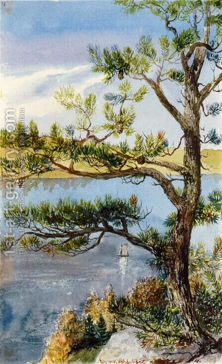 Tree and Sailboat, Lyme, Connecticut by Charles DeWolf Brownell - Reproduction Oil Painting