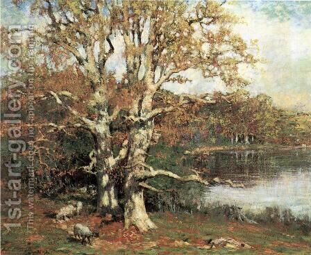 Pasture Oaks by Allen Butler Talcott - Reproduction Oil Painting
