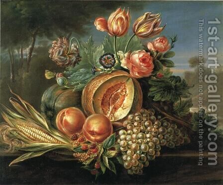 Still Life with Fruit and Flowers by Cornelius de Beet - Reproduction Oil Painting