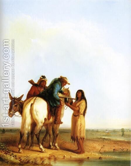 The Thirsty Trapper by Alfred Jacob Miller - Reproduction Oil Painting