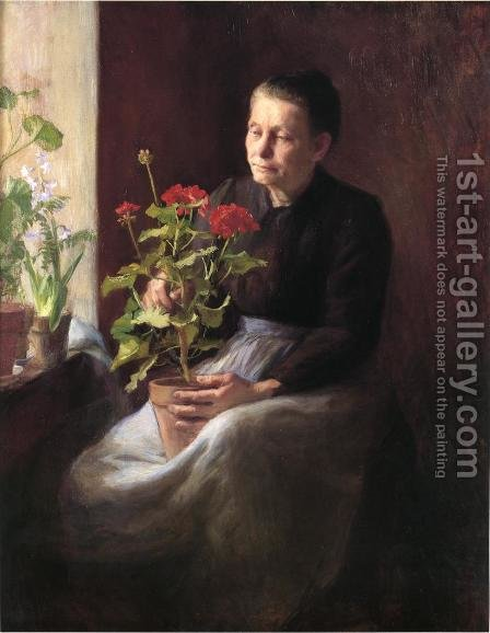 Woman with a Geranium by Caroline Augusta Lord - Reproduction Oil Painting