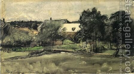 Landscape with Bridge and Houses by J. Frank Currier - Reproduction Oil Painting
