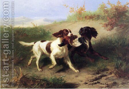 Two Spaniels in a Landscape by Conradyn Cunaeus - Reproduction Oil Painting