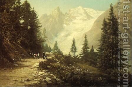 Watching the Artist in the Rockies by Dewitt Clinton Boutelle - Reproduction Oil Painting
